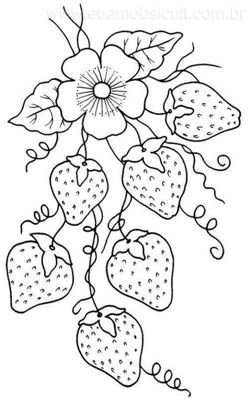 pretty strawberry embroidery pattern