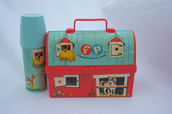 2cool2toss' shop > Vintage Toys,FisherPrice Fisher Price 549 Mini Barn Lunch Box & Thermos