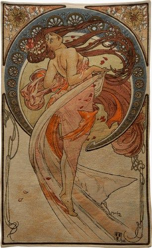 "Mucha Dance tapestry from Alphonse Mucha's 1898 The Arts series. Now a French wall tapestry with its flowing lines: 45""x27"". It matches his Music tapestry."