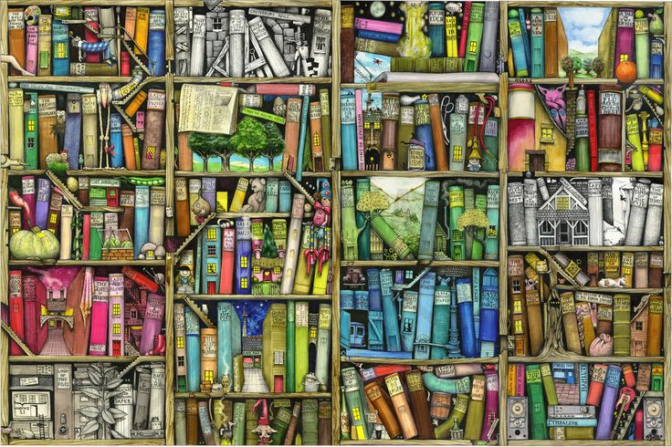 Fantasy Bookshelf - Fototapeter & Tapeter - Photowall