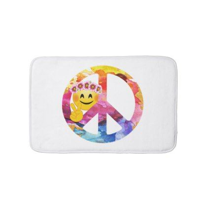 #Peace Sign Hippie Emoticon Watercolor Art Bathroom Mat - #emoji #emojis #smiley #smilies