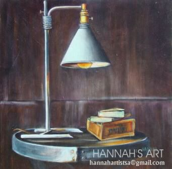 Artist: HANNAH, Old reading lamp, oil om canvas, 500 x 500, price on request.