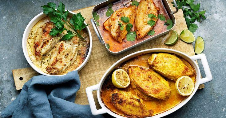 Recept på tre varianter av kyckling ugn. Väljer du klassisk gul curry, grönpeppar med dijon eller chipotle & lime.