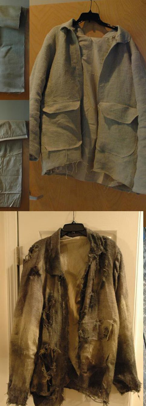 """Jason Voorhees (Friday the 13th) """"Freddy vs. Jason"""" costume. - Coat creation. Coat was made out of burlap using a sewing pattern."""