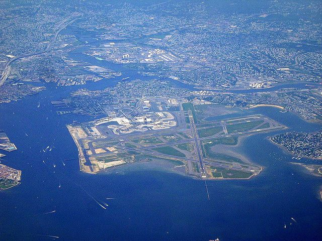 Boston Logan International Airport from above