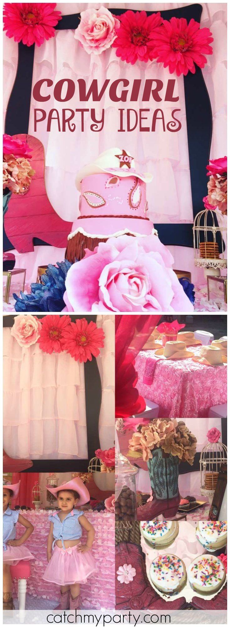 Check out this amazing brown and pink cowgirl birthday party! See more party ideas at Catchmyparty.com!