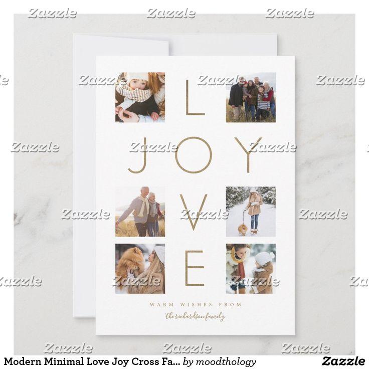 modern minimal love joy cross family photo collage holiday