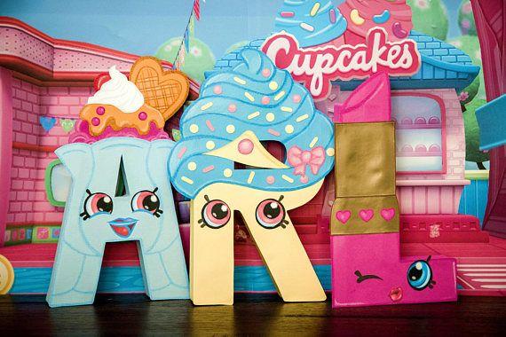 Shopkins Party / Decor / Letters - Suze Sundae / Cupcake Queen / Lippy Lipstick