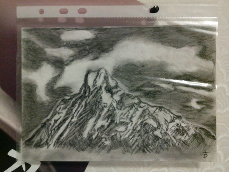 #drawing #carbon #mountains #Annapurna #Nepal