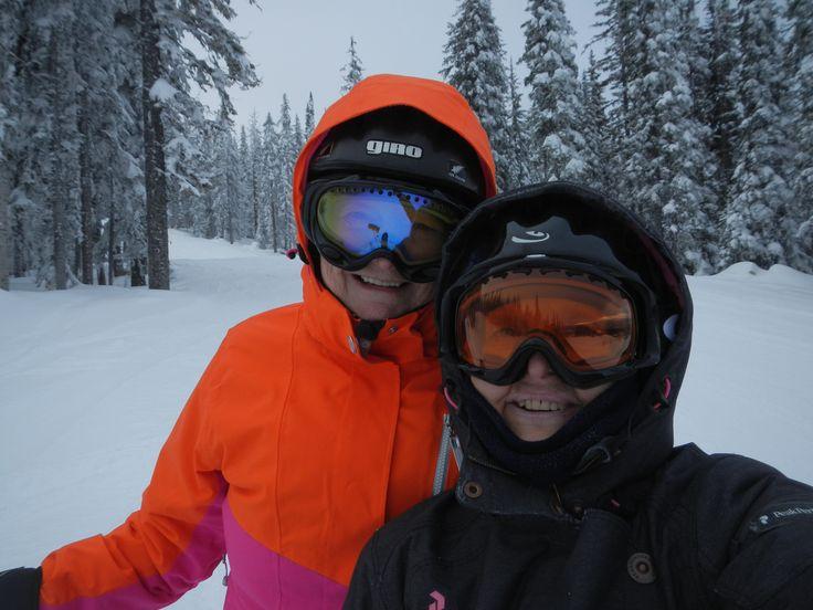 Bonnie and I skiing at Big White in flat light.  photo by #sueharper Sue Harper  seniornomad.wordpress.com