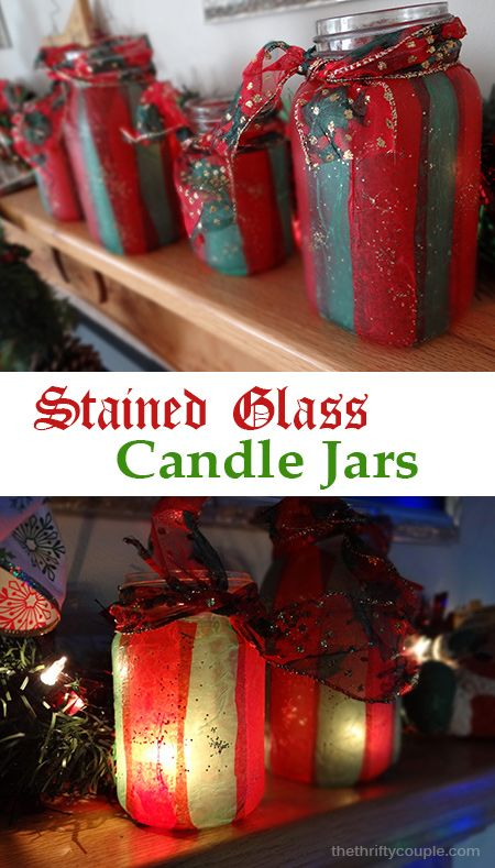 403 best holiday christmas decor ideas and thrifty christmas diy stained glass tissue paper jar candle holders solutioingenieria Images