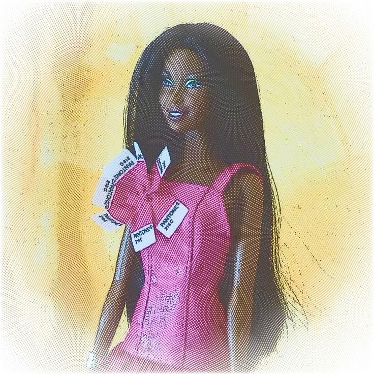 Zoe as Pink Pantone Barbie