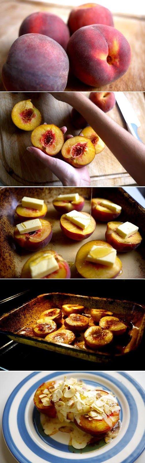 INGREDIENTS :   4 Peaches   Butter   Honey   250g Marscapone   150ml Double cream   1tsp Vanilla extract   Flaked almonds