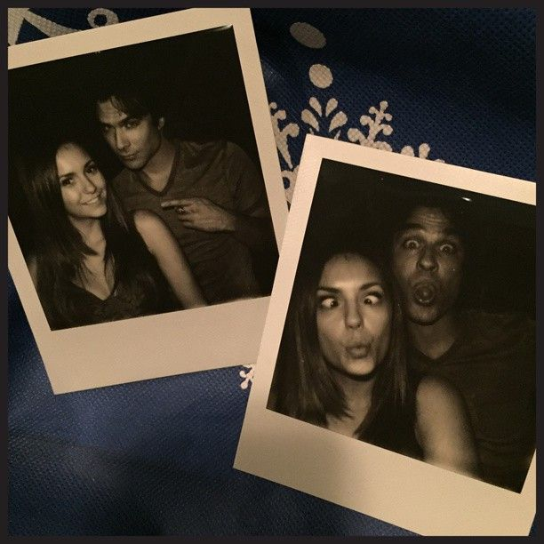 "#FBF to last week with IanSomerhalder shooting our final ""Damon and Elena"" scene. #TVDFamily #PolaroidSeries"