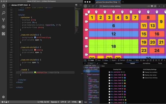 VSCode editor and CSS grid tested with Firefox Developer