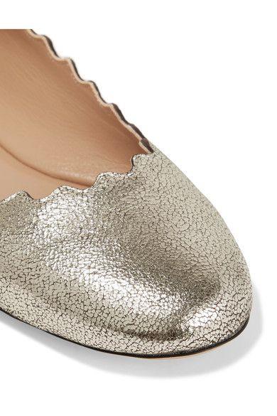 Chloé - Lauren Scalloped Metallic Cracked-leather Ballet Flats - Silver - IT41
