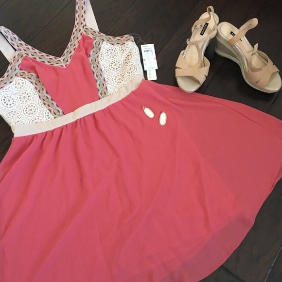 Salmon and lace summer dress *NWT* Have a summer bbq or concert coming up? Well just your luck, you'll be the best dressed with this adorable dress. Lace detailing on bodice and back with embroidery on straps Chord Dresses Midi