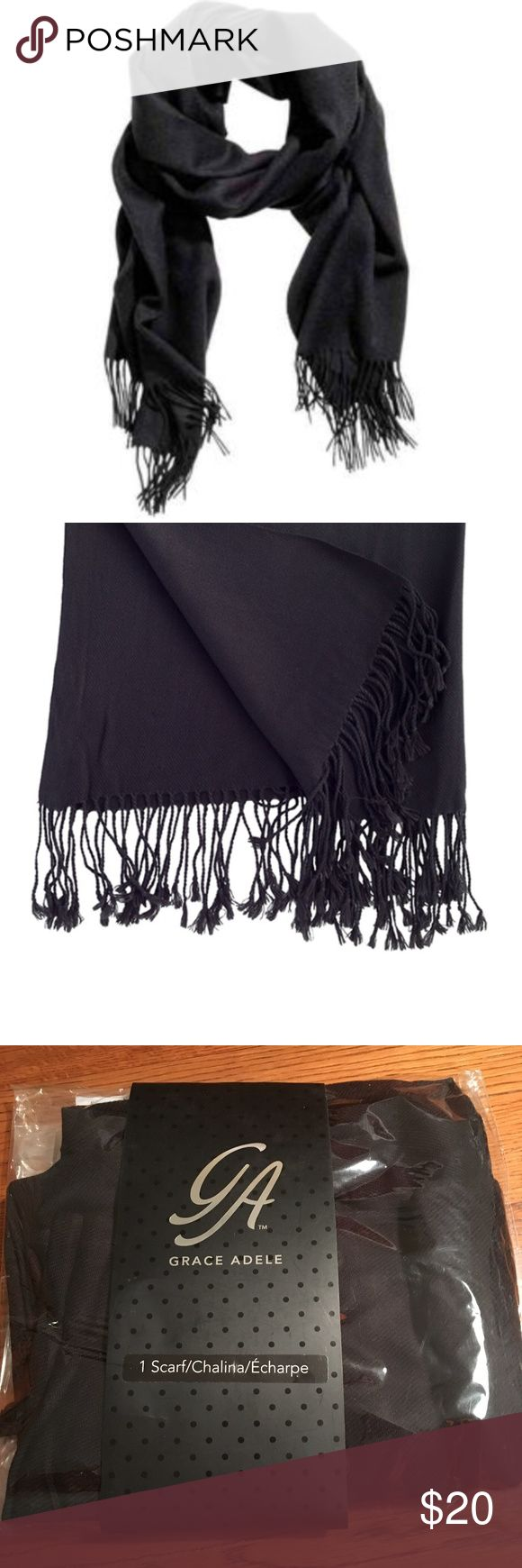 "Grace Adele Classic Fringed Black Scarf - NWT Wrap yourself up in chic, cozy style with this classic black fringed scarf! The final layer for keeping warm & gorgeous.  Made from acrylic/viscose.  69"" long.  27 1/2"" wide.  Fringe is 3 1/2"".  Smoke free home.  All measurements are approximate.    *Bundle and save!* Grace Adele Accessories Scarves & Wraps"