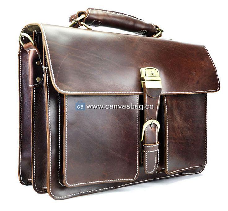 Genuine Leather Business Bag Leather Briefcase Leather Messenger Bag Tote 16″ Leather Laptop Bag for Men Dark Brown