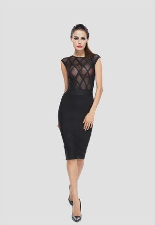 SEE-THROUGH MESH SLEEVELESS PITURES OFFICE DRESS FOR LADIES