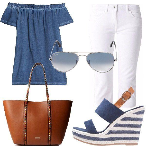 I pantaloni bianchi sono sinonimo d'estate, questo modello capri è comodissimo. Ho scelto di abbinarlo a un top blu che lascia le spalle scoperte. I sandali con la zeppa a righe bianche e blu e il cinturino in cuoio sono perfetti e regalano diversi centimetri in più. La borsa in cuoio ha delle applicazioni colorate sui manici. Come accessorio ho scelto i classici occhiali da sole a goccia firmati Ray-Ban.