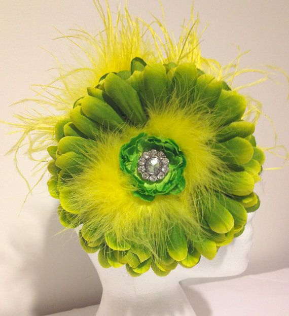 Girls New for Spring Jumbo Lemon & Lime Flower with Yellow Ostrich Feather Headband. Handmade in Brooklyn  by FancyGirlBoutiqueNYC, $24.99