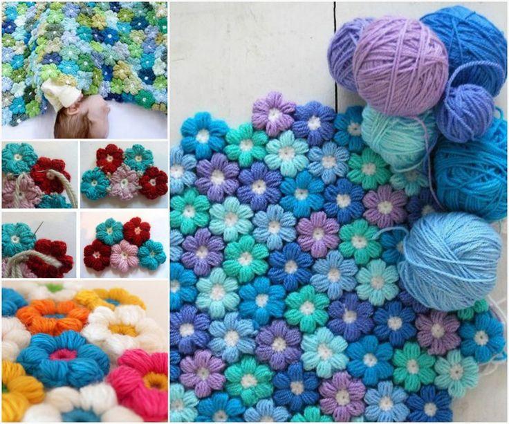 Crochet Flower Blanket, http://thewhoot.com.au/whoot-news/crafty-corner/crochet-rug .