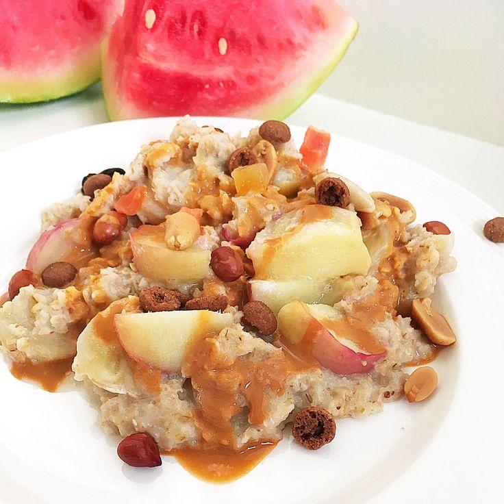 ❤️ Havermout ontbijt bowl met perzik, schuddebuikjes