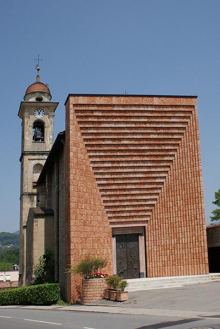 Mario Botta. Façade for the parish church in Genestrerio, Ticino , Switzerland (1999-2003)