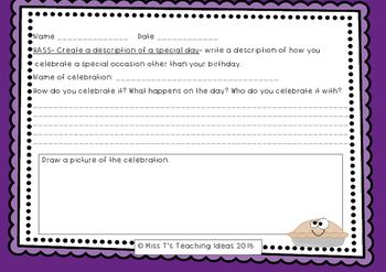 Year 3 Unit on Celebrations.Tasks:1. Students write about a special celebration or occasion that they celebrate.2. Celebration key note project worksheet. Can be used for assessment. Linked to the West Australian History Curriculum Year 3Year 3 SyllabusHistorical Knowledge and UnderstandingCOMMUNITY AND REMEMBRANCECelebrations and commemorations in other places around the world; for example,Bastille Day in France, Independence Day in the USA, including those that are observedin Australia…