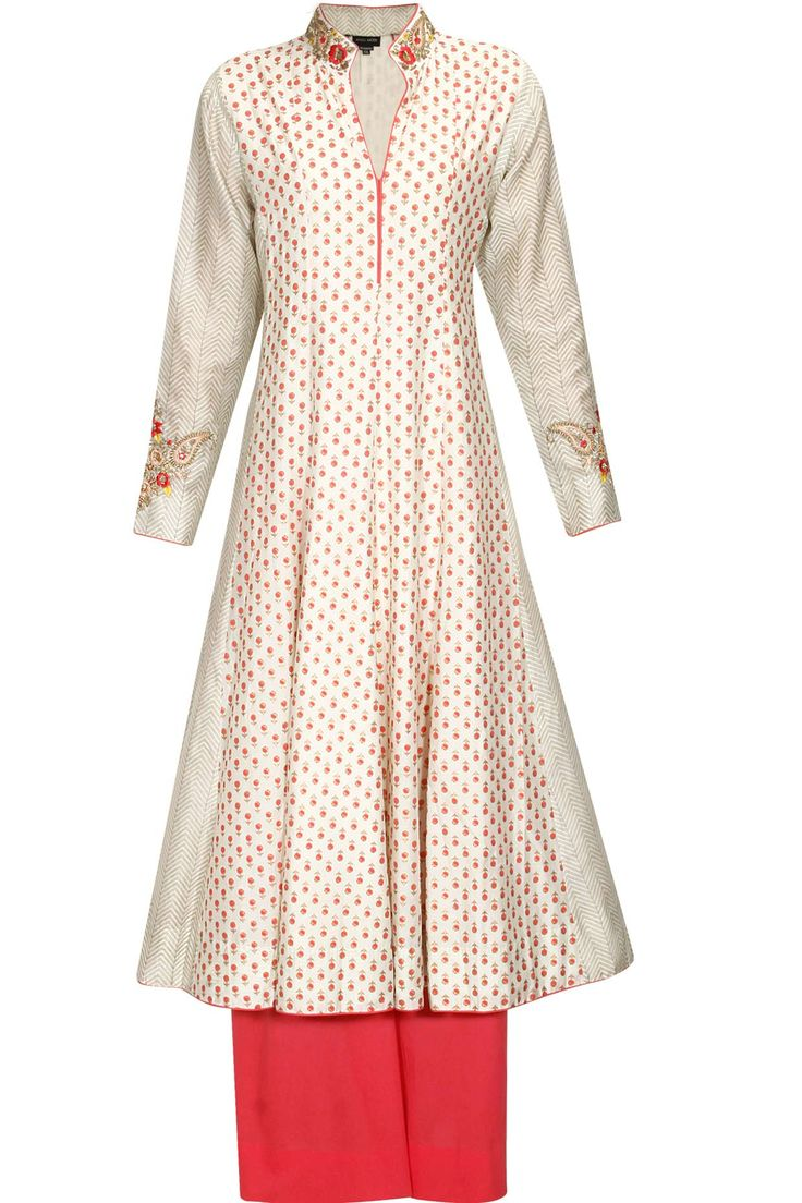 Ivory and pink embroidered block print anarkali set available only at Pernia's Pop Up Shop.#perniaspopupshop #shopnow #anjumodi #clothing #festive #newcollection