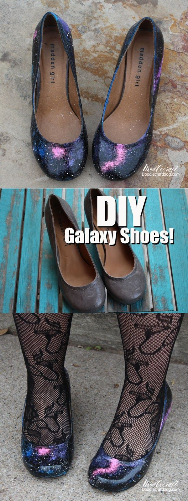 DIY Upcycle Galaxy Shoes!  Take some old heels and make them amazing!  The entire galaxy can revolve around you!