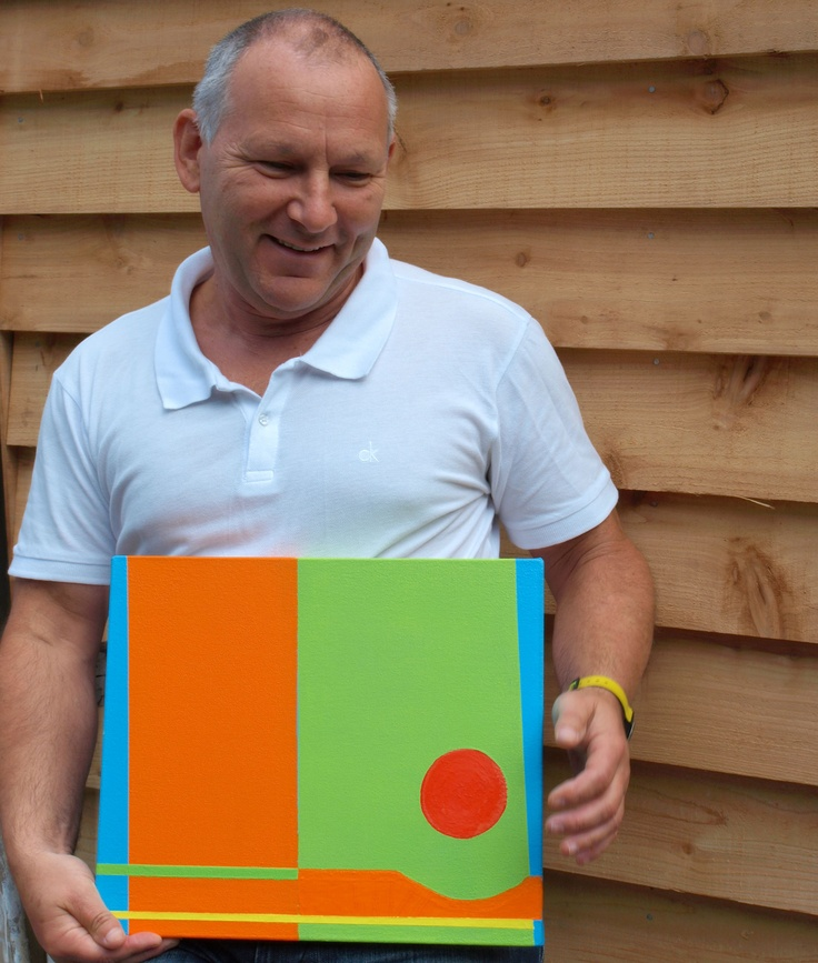 "Chris Billington with ""Ilkley"" (2011) ~ 14in x 12in ~ acrylic on canvas"