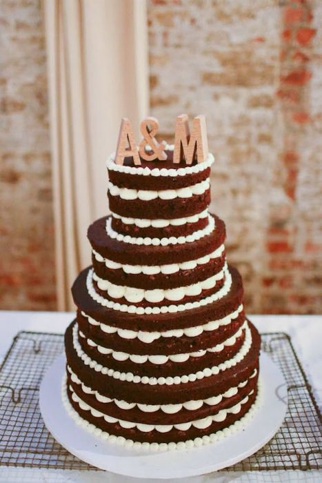 Initials add that extra touch to this naked cake. Photo Source: style me pretty #initials #nakedcakes #rusticcakes weddingcakes