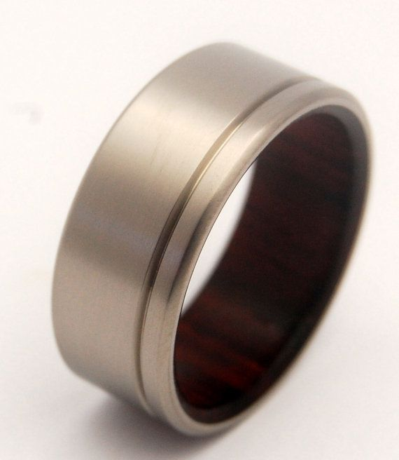 Unfettered  Rosewood Titanium Wedding Band by MinterandRichterDes, $350.00