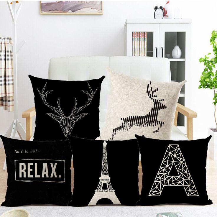 estilo casual simple estrella patrn funda de cojn blanco y negro funda de cojn almohada cubierta