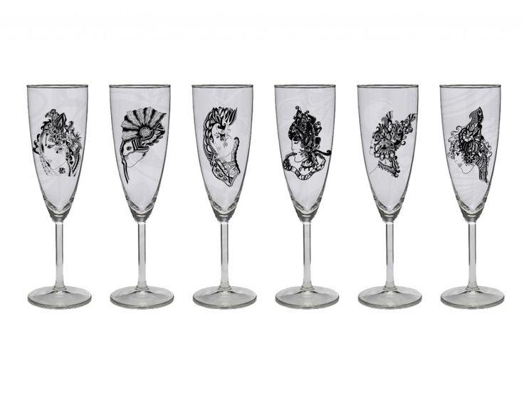 Set 6 kusov pohárov na šampus / 6 rôznych dizajnov