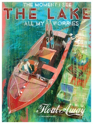 Ski Boat Art -- Lakehouse Lifestyle Online Store