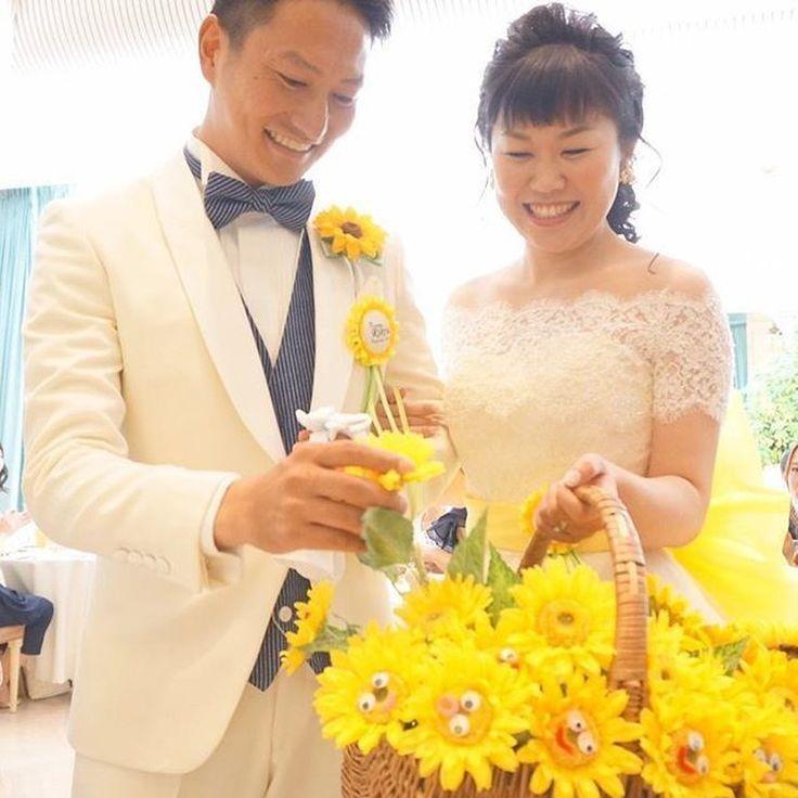 【結婚式レポ】ひまわりも笑顔も満開☆映画好きのおふたりが作るオリジナルウェディング