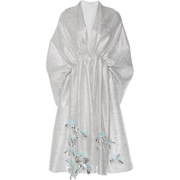 DELPOZO Embroidered Shawl (157.170 RUB) ❤ liked on Polyvore featuring accessories, scarves, dresses, silver, shawl scarves, embroidered scarves, silver metallic shawl, silver shawl and silver scarves