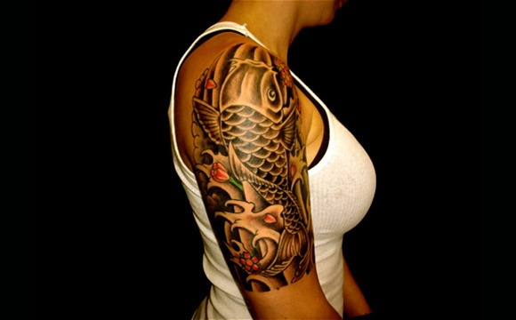 Black white tattoo ideas koi pinterest for Black white koi
