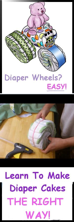 cute cartoon tractor diaper cake with purple bear on top! http://printmybabyshower.com/make-diaper-wheels-for-diaper-cakes/