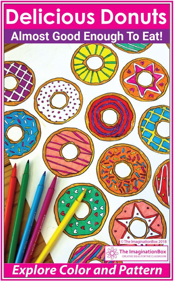 Here Is A Fun Donut Art Project For Upper Elementary Grade 4 Grade 5 Grade 6 A No Prep Printable Collaborative Pop A Donut Coloring Page Donut Art Pop Art