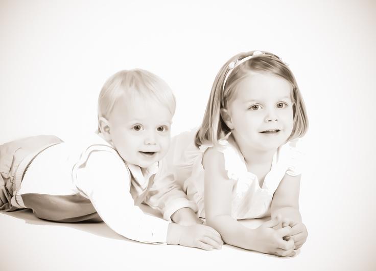 Siblings with sepia flair premium enhancement taken at sears portrait studios