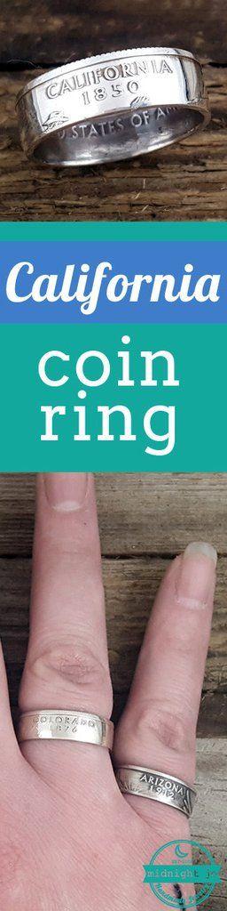 California 90% Silver State Quarter Coin Ring #california #losangeles #sanfrancisco #sandiego #coinring