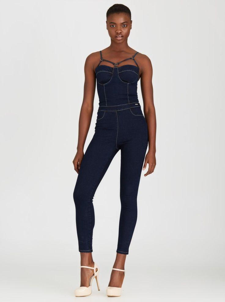 SISSY BOY Marise Stretch Denim Corset Jumpsuit Dark Blue