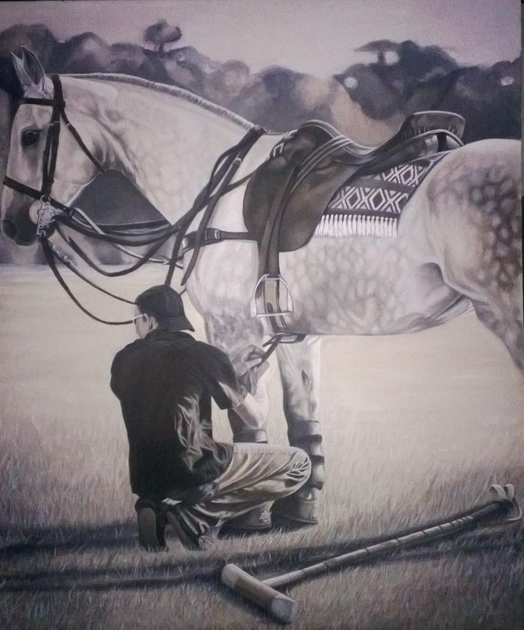 Polo Play - by Dawn Du Preez  Photo realistic oil of a polo player and his Horse.  available on  http://sherrynssecret.com/index.php?route=product/category&path=126