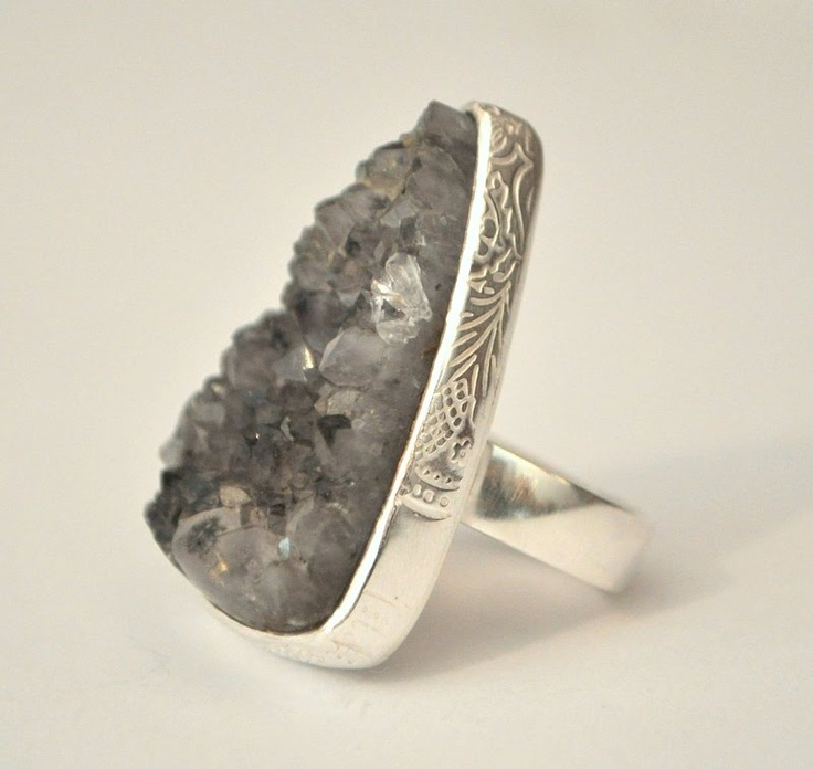smokey quartz crystal bed ring, set in sterling silver with embossed detail.