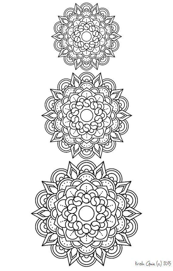 Printable Intricate Mandala Coloring Pages, Instant Download, PDF, Mandala Doodling Page, Adult Coloring Pages, Kids Coloring Pages