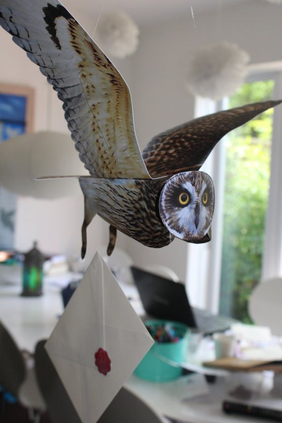 Every Harry Potter fan can now have their very own Hogwarts flying owl mobile to deliver their mail. This sale is for the purchase of 1 of 3 different variety of flying owl selected at random from Barn owl, Tawny Owl and Short-Eared Owl. Each has an impressive wing span of 54cm and comes complete with a personalised letter.  These make wonderful decorations for a Harry Potter fans bedroom, a Harry Potter themed party or Halloween.  These owls are made of paper card and come flat packed…